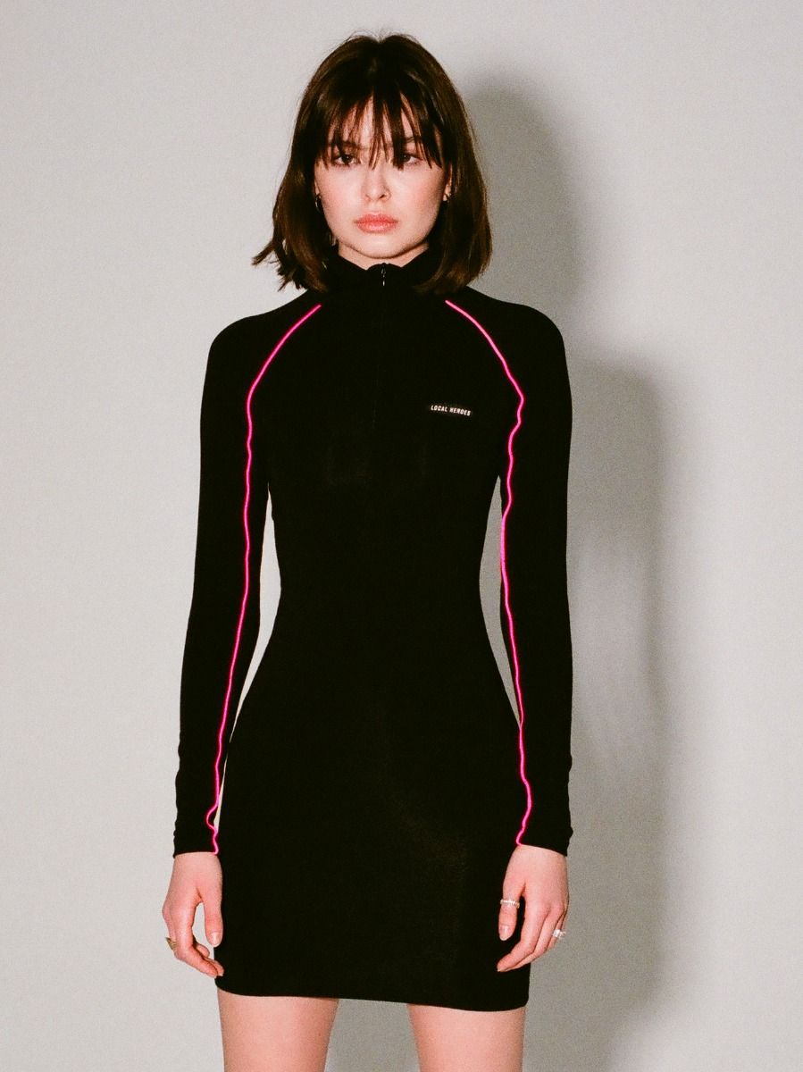 LH LONGSLEEVE DRESS WITH PINK