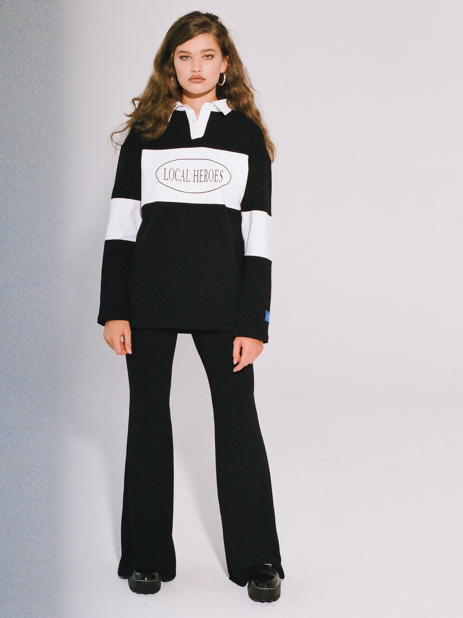 LH BLACK AND WHITE POLO LONGSLEEVE