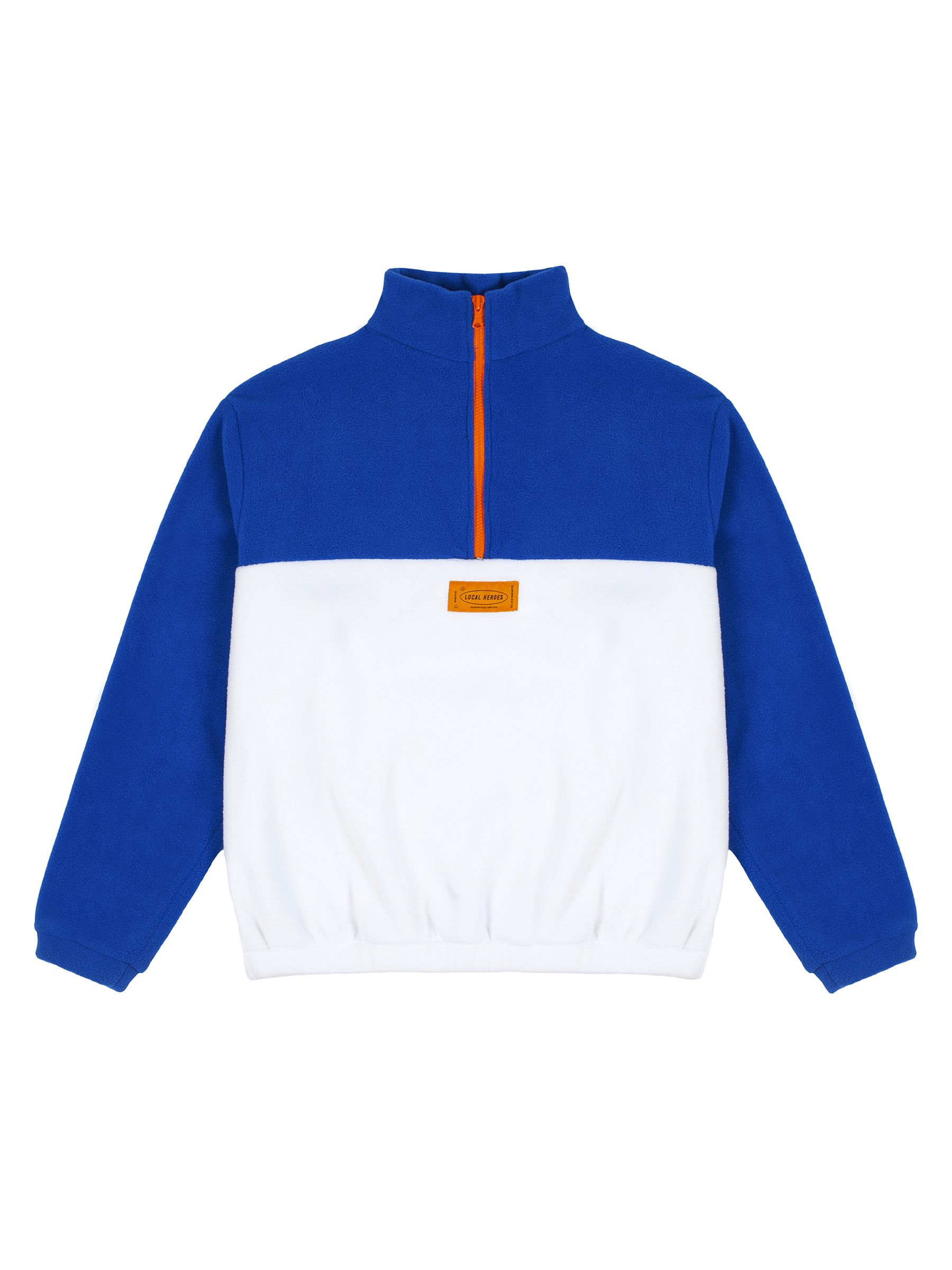 WHITE AND BLUE FLEECE SWEATSHIRT