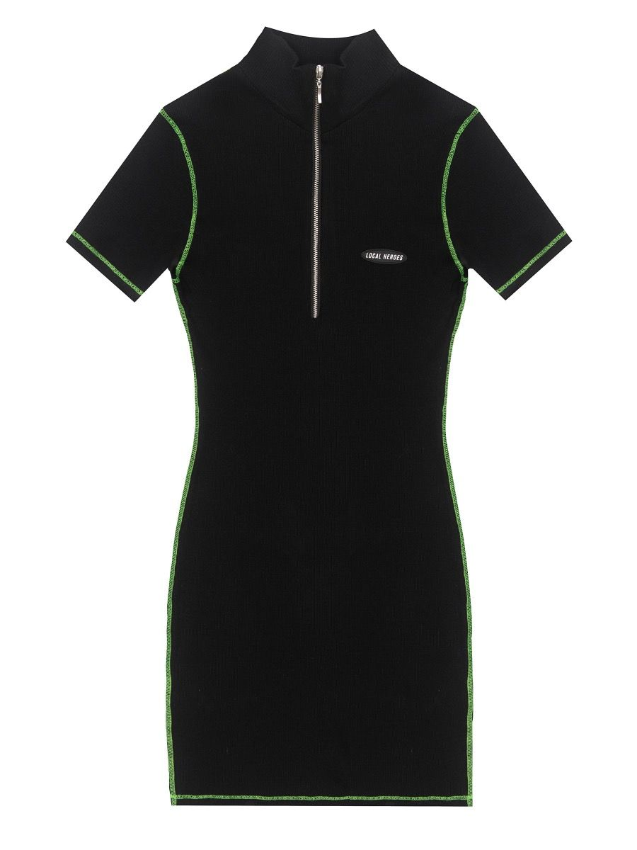LH RIB DRESS WITH NEON SEAMS
