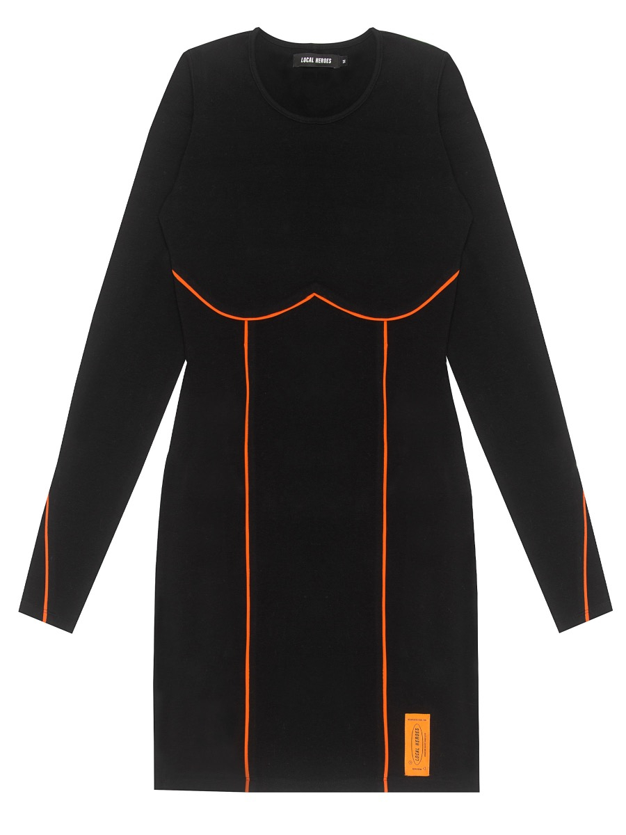BLACK AND ORANGE LONGSLEEVE DRESS