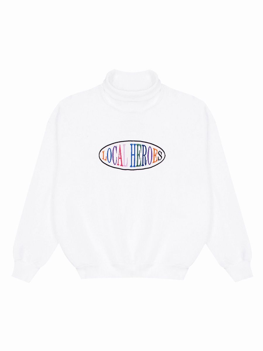 LH WHITE TURTLENECK SWEATSHIRT