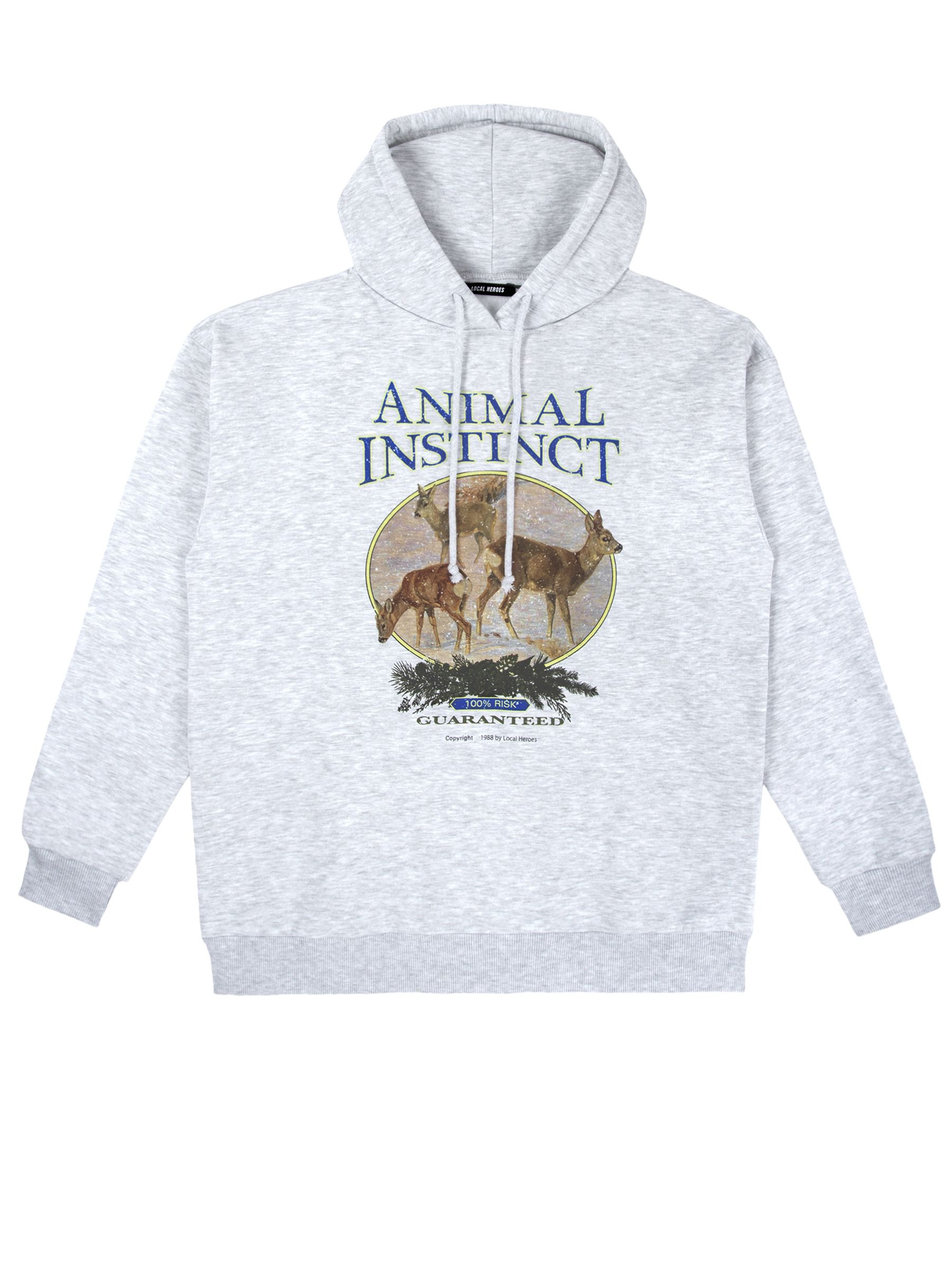 ANIMAL INSTINCT GREY HOODIE