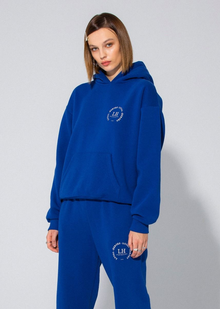 LH CLUB ROYAL BLUE HOODIE by Local Heroes, available on localheroesstore.com for EUR77 Kaia Gerber Top Exact Product